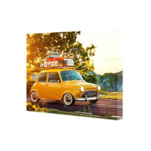 Obraz na płótnie żółte auto retro z walizkami na dachu