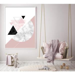 Plakat geometryczne marmurowe kształty wizualizacja