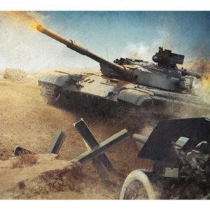 Obraz czołg na polu bitwy