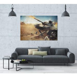 Obraz na płótnie czołg na polu bitwy wizualizacja