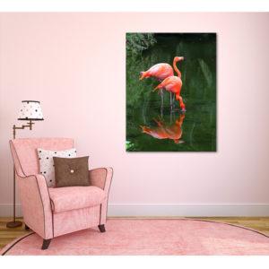 Obraz na płótnie pionowy flamingi w wodzie wizualizacja