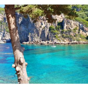 Obraz grecka zatoka z turkusową wodą