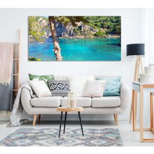 Obraz na płótnie grecka zatoka z turkusową wodą wizualizacja