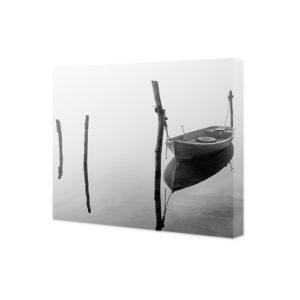 Obraz na płótnie łódka we mgle
