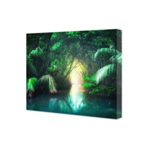 Obraz na płótnie krajobraz tropikalnej dżungli z turkusowym jeziorem