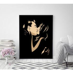 Plakat całująca się para kochanków wizualizacja
