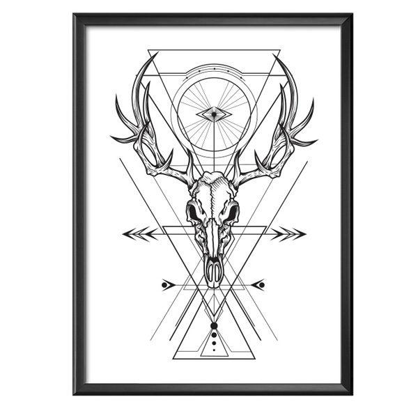 Plakat czaszka jelenia z kształtami geometrycznymi
