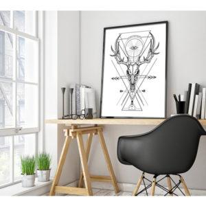 Plakat czaszka jelenia z kształtami geometrycznymi wizualizacja