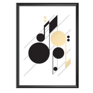 Plakat geometryczne nuty