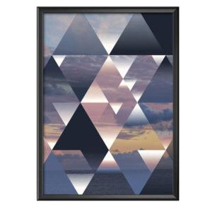 Plakat geometryczne trójkąty chmury i morze