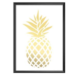 Plakat złoty ananas