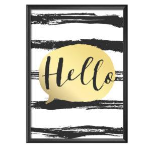 Plakat z napisem Hello