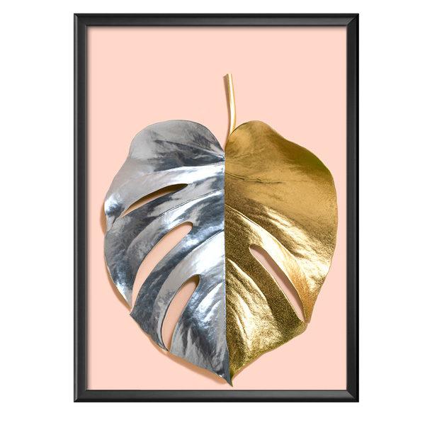 plakat monstera srebrno-złota