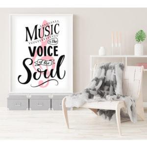 Plakat music is the voice of the soul wizualizacja