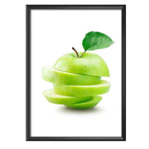 Plakat pokrojone zielone jabłko