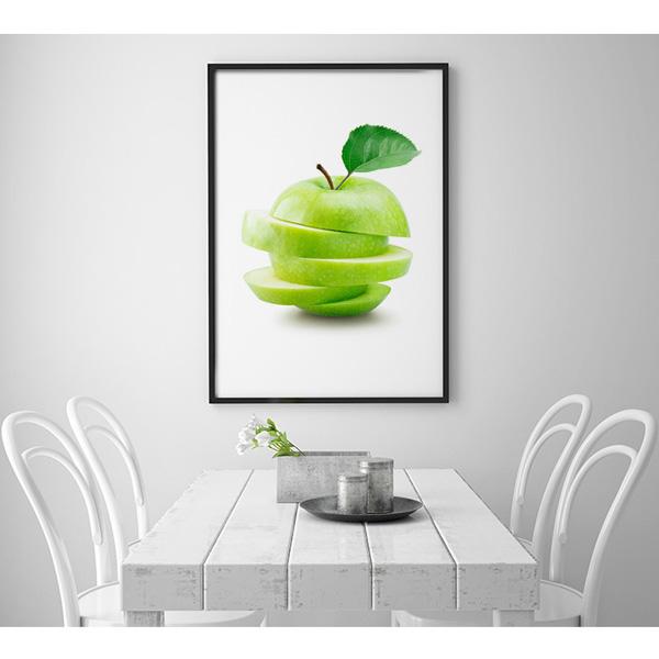Plakat pokrojone zielone jabłko wizualizacja kuchnia