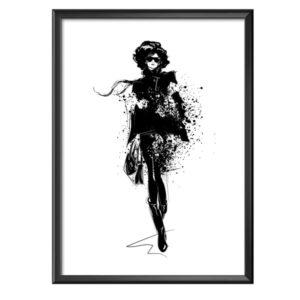 plakat szkic modnej kobiety