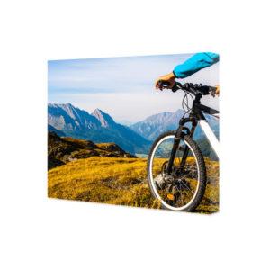 obraz na płótnie przód roweru na tle alpejskich gór