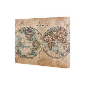 obraz na płótnie stara mapa świata – półkule
