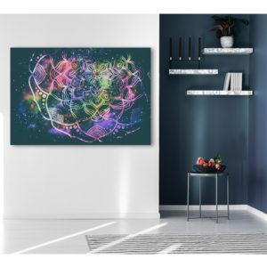 obraz na płótnie mandala na tle gwiezdnego pyłu wizualizacja