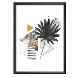 Plakat abstrakcyjne geometryczne kształty z egzotycznym liściem