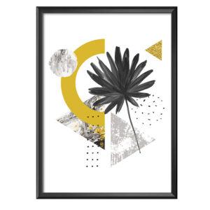 plakat abstrakcyjne geometryczne kształty z liściem
