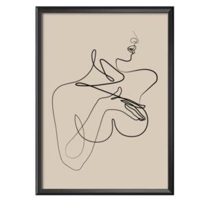 Plakat tułów kobiety grafika liniowa