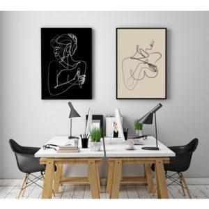 Plakaty tułów kobiety grafika liniowa wizualizacja